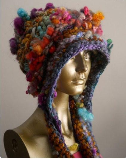 фактурная пряжа шапка оригинальный стиль